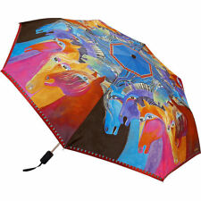 LAUREL BURCH Compact Umbrella WILD HORSES OF FIRE ~ Auto Open & Close ~ New