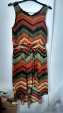 LADIES NEW LOOK  HIGH/LOW DRESS, SIZE 10. MULTI COLOUR