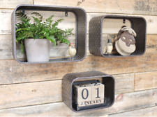 Set Of Three Rectangle Metal Industrial Retro Wall Shelving Shelf Display