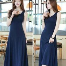 Women Summer Retro Casual Tank Vest Maxi Dress Sleeveless Slim Long Dress HOT LG