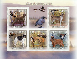 Guinea-Bissau Hunting Dogs & Birds on Stamps 2009 MNH Ducks Geese Borzoi 5v M/S