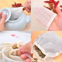 10 Pcs 8x10cm Large Cotton Muslin Drawstring Reusables Bags for Soap Herb Tea RF