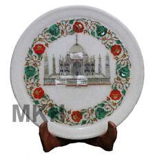Tajmahal Plates Marble Inlay Plate Antique Serving Stone Vintage Art Pietra Dura