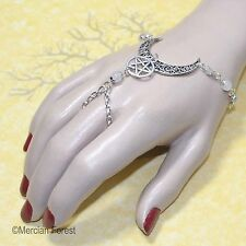 Ornate Crescent Moon and Pentacle Bracelet Ring - Pagan Jewellery, Wicca, Witch