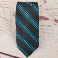 Ben Sherman Men's Neck Tie Gray Blue Stripe 100% Silk