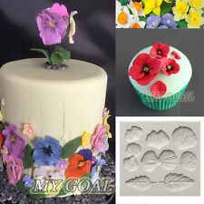 Pansies Flower Petal Silicone Fondant Mould Cake Decor Sugar Gumpaste DIY Mold