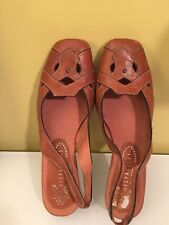 hispanitas camel tan sling back leather wedge shoes 39 NEW WITH BOX