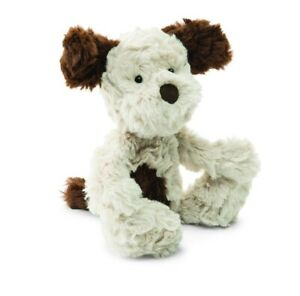 """Jellycat Plush Squiggle Puppy Dog Beige Brown Spots Lovey 9"""" Small. NEW"""
