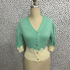 Vintage Sweater 80s Mint Green Cardigan Small