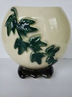 Vintage Royal Copley Ivy Footed Vase Planter Pottery Green White
