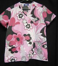 XS Factory Uniforms Pink White Black Floral  Scrub Top