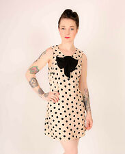 Nude pink & black peter pan bow collar shift dress size 10 RIVER ISLAND