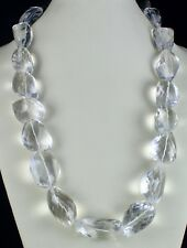 NATURAL WHITE ROCK CRYSTAL QUARTZ BEADS FACETED NUGGET BIG 1 L 2129 CTS NECKLACE