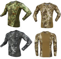 Men's Military Tactical Camo Long Sleeve Army T-shirts Combat Hunting Tights Top