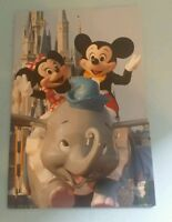 Disneyland Postcard Mickey Minnie Mouse Dumbo Ride Cinderella Castle 4x6 NEW