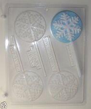 SNOWFLAKE LOLLIPOP CLEAR PLASTIC CHOCOLATE CANDY MOLD C161