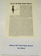 "Belding & Mull ""Visible"" Powder Measure Instruction Manual & Powder Slide Chart"