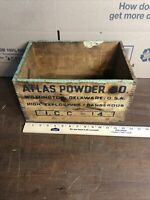Vintage Atlas Powder Co High Explosives Wooden Box Mining Advertising