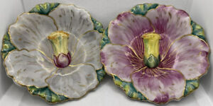 Antique 19c Unique Majolica Hand Painted Ceramic Hibiscus Gold Enamel Plate