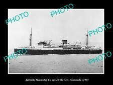 OLD LARGE HISTORIC PHOTO OF ADELAIDE STEAMSHIP Co VESSELL MV MANUNDA c1935