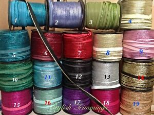 Flanged insert 12mm piping cord -Metallic lurex tape Assorted Colours~UK