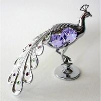 Crystocraft Peacock Ornament with Swarovski Crystals Bird Animal Figurine Gift