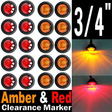 "10x Red 10x Amber 3/4"" 12V LED Clearance Marker Bullet Truck Trailer Lights Lamp"