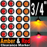 "10X Red + 10X Amber 3/4"" Round LED CLEARANCE SIDE MARKER LIGHT FOR TRUCK TRAILER"