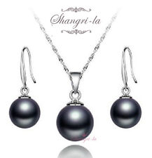 Stamped 925 Sterling SILVER Round BLACK PEARL Necklace EARRINGS SET FS805