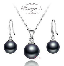 Sterling Silver Stamped 925 Round Black Pearl Necklace Wedding Set Sfs805