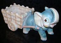 "Vintage Porcelain Ceramic ELEPHANT w/ CART PLANTER Vase Flower Pot FIGURINE 7"""
