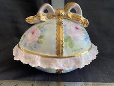 porcelain egg trinket box ruffle edge hand painted Le Madam Petit De Porcelain