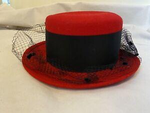 VIYELLA Retro 100% Wool Felt Cosplay Red Black Fascinator Steampunk Hat 18 inch