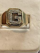Vintage 18K  Gold Diamond Letter Initial G Men's  Ring sz 10