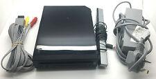 Black Nintendo Wii console & power av tv sensor cables bundle set only genuine