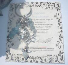 AQUAMARINE GEMSTONE HEALING ANGEL BAG CHARM GIFT KEYRING BUTTERFLY