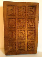 "ANTIQUE VINTAGE WOOD HAND CARVED SPRINGERLE MOLD.  BEAUTIFUL!   9"" BY 6""."