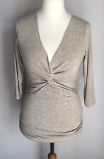 Phase Eight Ladies Oatmeal Light Brown Cross Over Top Size L 12 Wool Blend