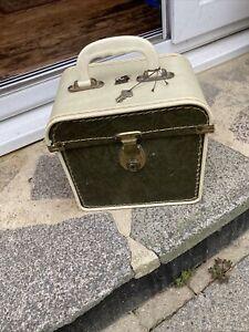 """Vintage 1950s 1960s Green/cream Record Box Case 45rpm 7"""" Singles"""
