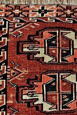 ANTIQUE HAND KNOTTED TRIBAL TEKKE YOMUD JUVAL BAG FACE RUG TURKESTAN