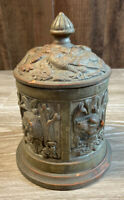 "Antique Ornate Painted Terra Cotta Tobacco Jar Humidor Birds & Animals ""JS 1426"""