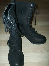 NEW FAITH LEATHER Biker Style Boots SIZE UK 5 IN BLACK