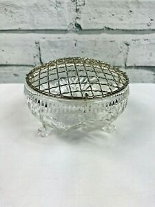"""Cut Glass Posy Flower Bowl with Wire Mesh Lid floral design 4.5"""" Diameter"""