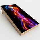 Skin Decals for Cornhole Game Board 2xpcs. / Neon Smoke blue, orange, purple