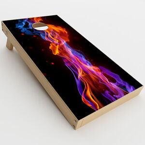 Skin Decals for Cornhole Game Board (2xpcs.) / Neon Smoke blue, orange, purple
