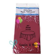 """84"""" Burgundy Wedding Birthday Round Party Tableware Plastic Table Cover"""