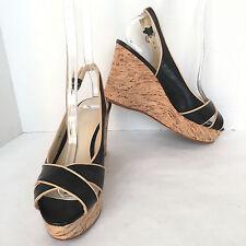 Nine West Women's Black & Beige Leather Cork Wedge Heel Sandals Size US 6.5 M