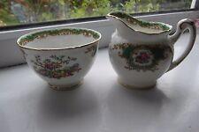 Foley Broadway Green Cream Jug & Sugar Bowl Bone China Small Size British
