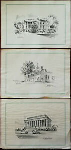 Lincoln Memorial, White House & Mount Vernon USA Prints by Jas F. Murray 1949