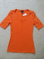 NWT ZENANA Outfitters Womens Orange Stretch Cotton 3/4 SleeveTee-Top Sz.S